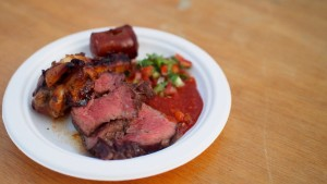 Minas Brazilian Steakhouse - Churrasquinho (BBQ Sampler: Beef, Chicken, Sausage & Salsa) at Taste of Calgary 2015