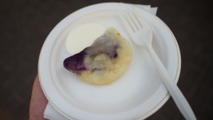 Heritage Bakery & Deli - Blueberry Perogy w/ Sweet Sauce at Taste of Calgary 2015